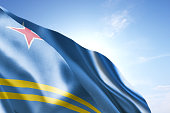 Flag of Aruba waving in the wind