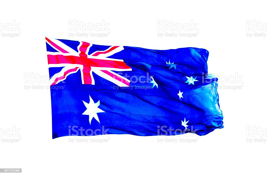 Flag of Australia waiving in wind, white background, copy space stock photo