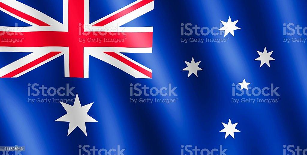 Flag of Australia waving in the wind stock photo