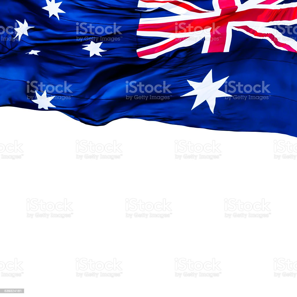 Flag of Australia waving in wind, white background, copy space stock photo