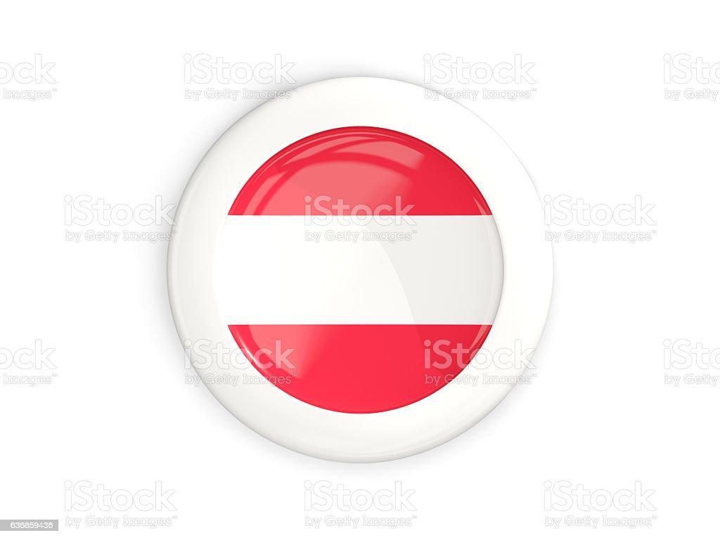 Flag of austria, glossy round button stock photo