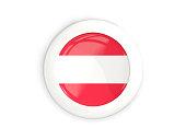 Flag of austria, glossy round button