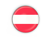 Flag of austria, round icon with metal frame