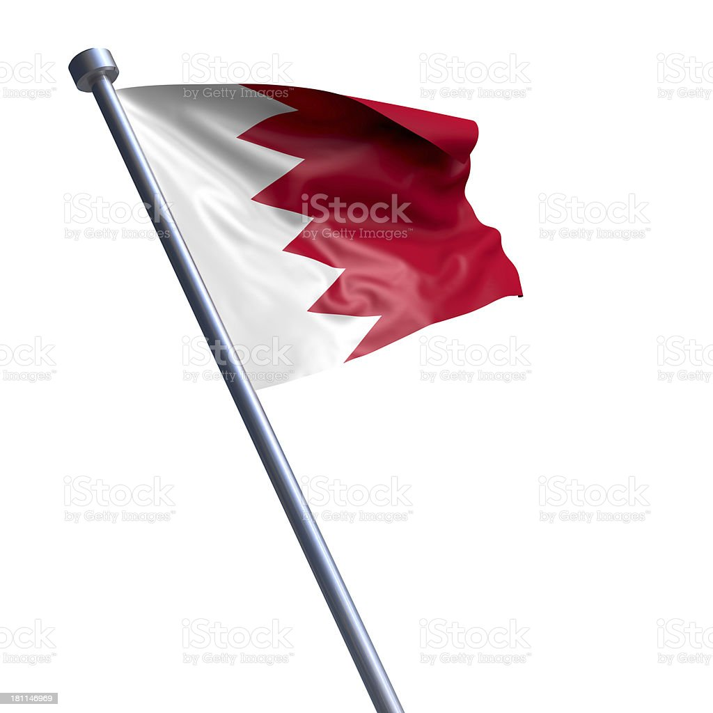 Flag of Bahrain isolated on white stock photo