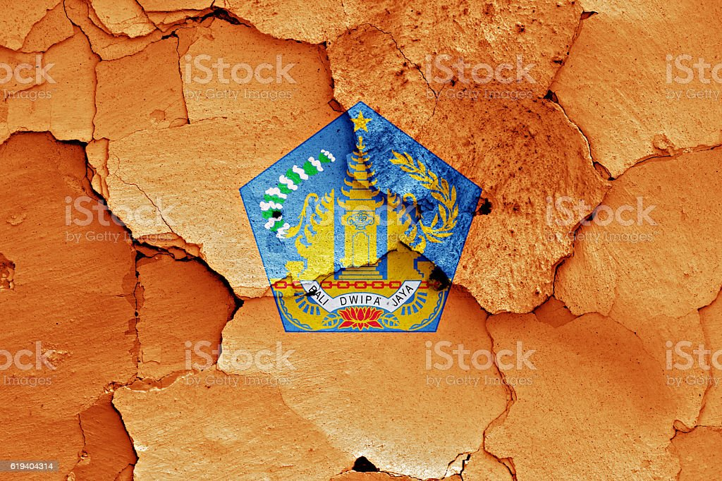 flag of Bali painted on cracked wall stock photo