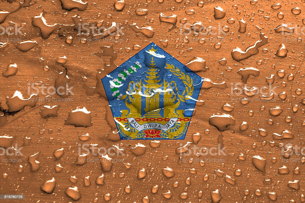flag of Bali with rain drops stock photo
