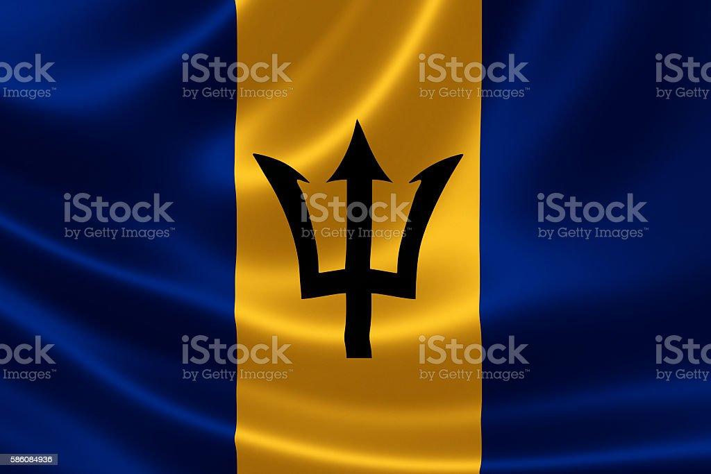 Flag of Barbados on satin texture stock photo
