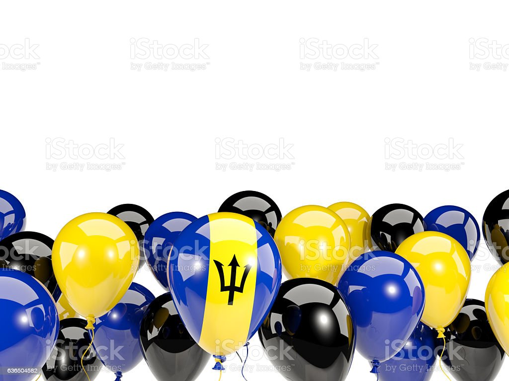 Flag of barbados with balloons stock photo