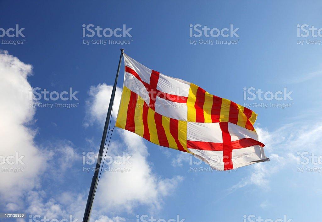 Flag of Barcelona, Spain royalty-free stock photo