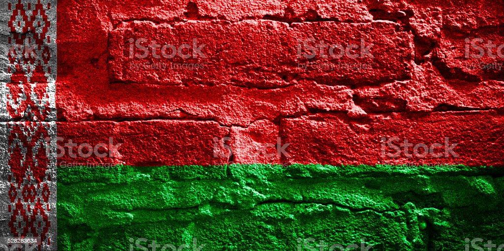 Flag of Belarus on a brick wall stock photo