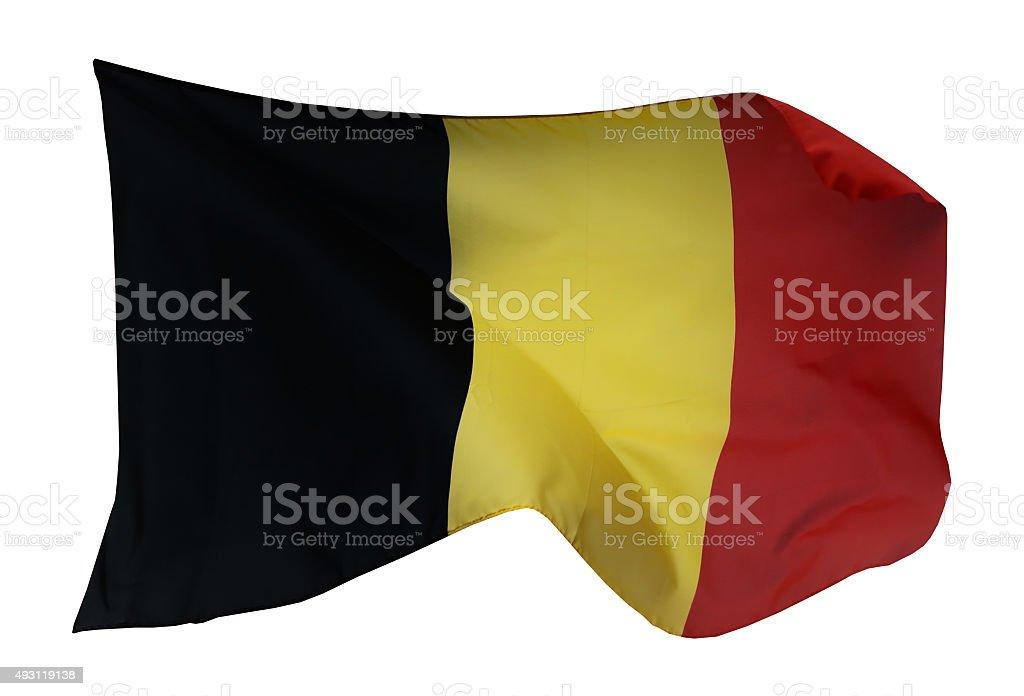 Flag of Belgium, isolated on white background stock photo