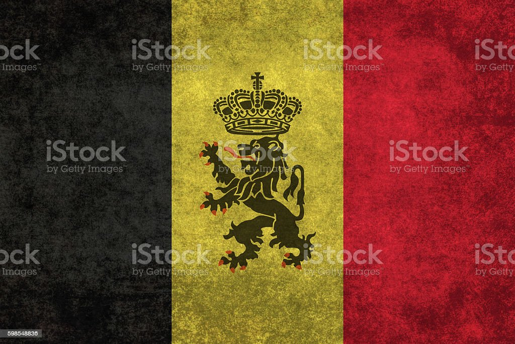 Flag of Belgium with government Lion ensign and distressed textures stock photo