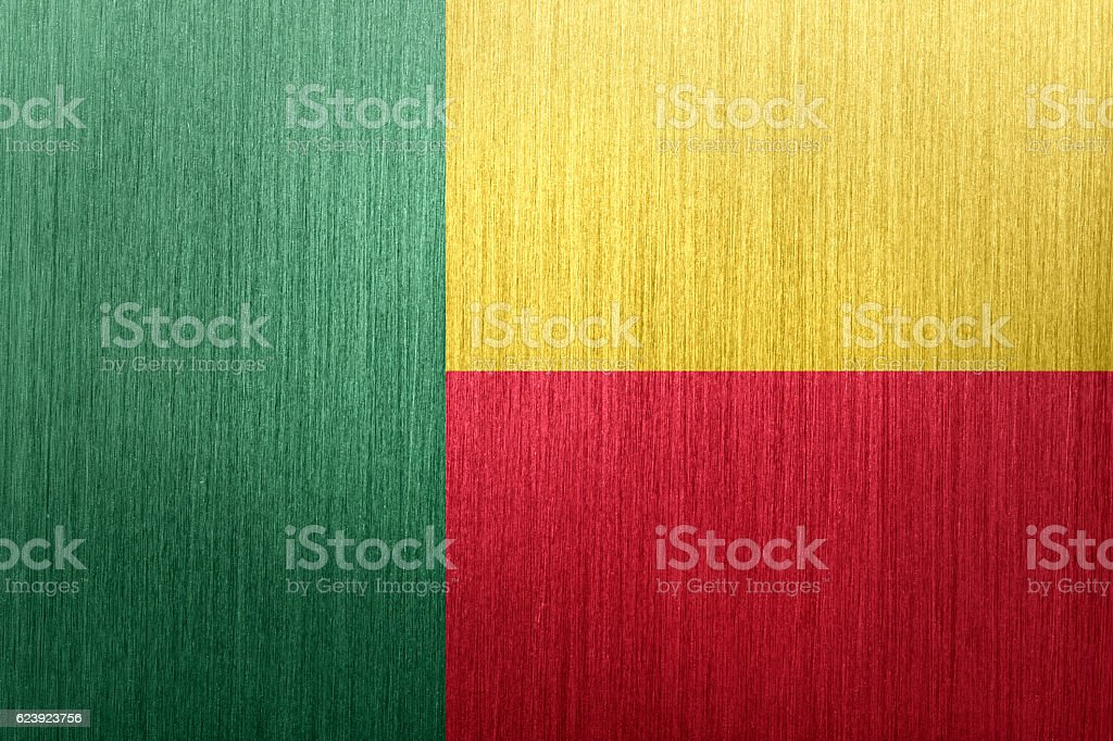 Flag of Benin on a brushed metal background stock photo