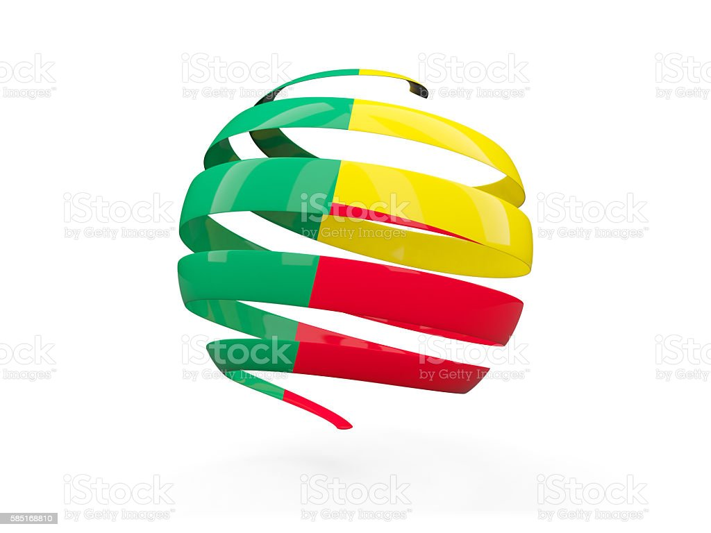 Flag of benin, round icon stock photo