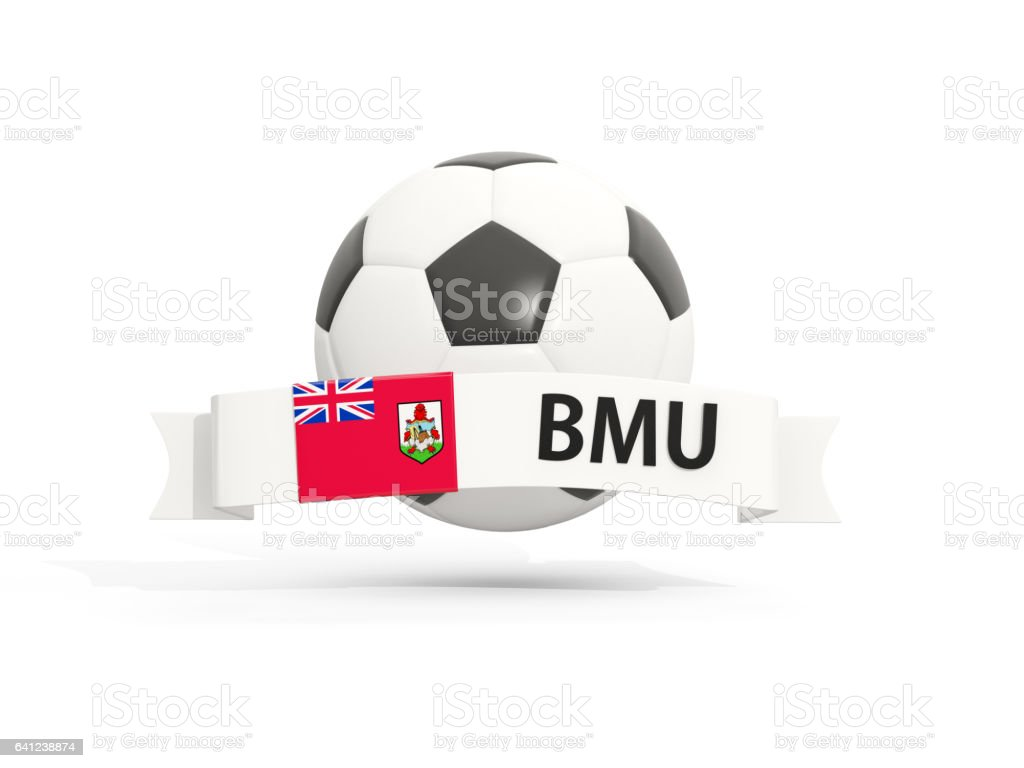 Flag of bermuda, football with banner and country code stock photo