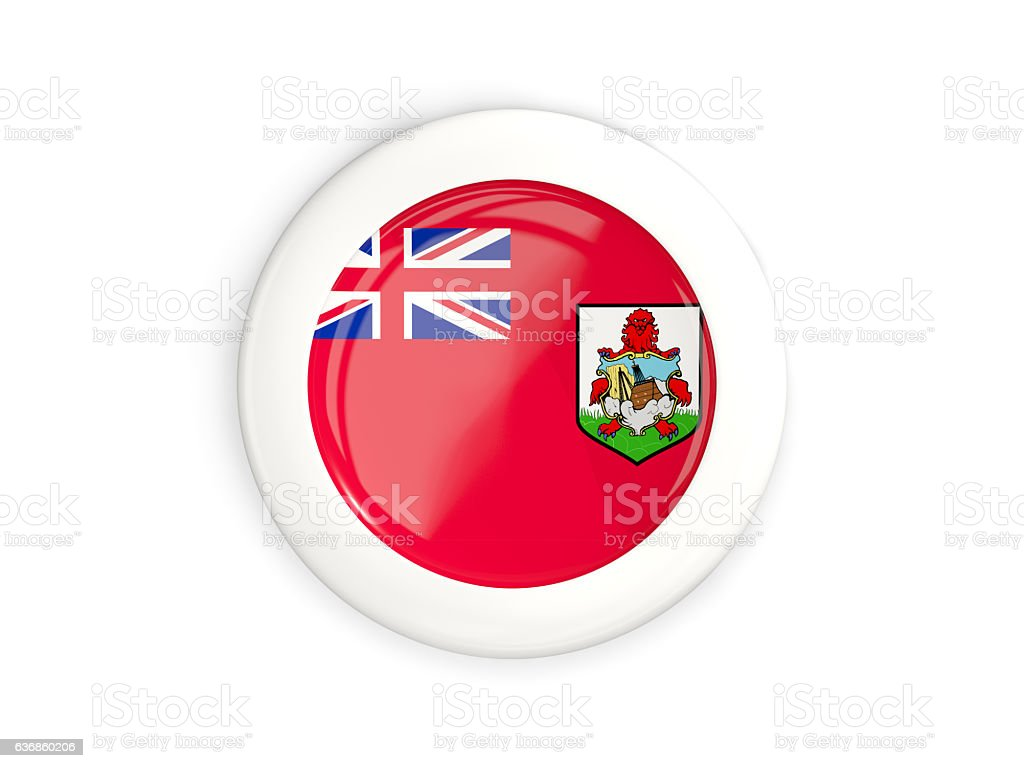 Flag of bermuda, glossy round button stock photo