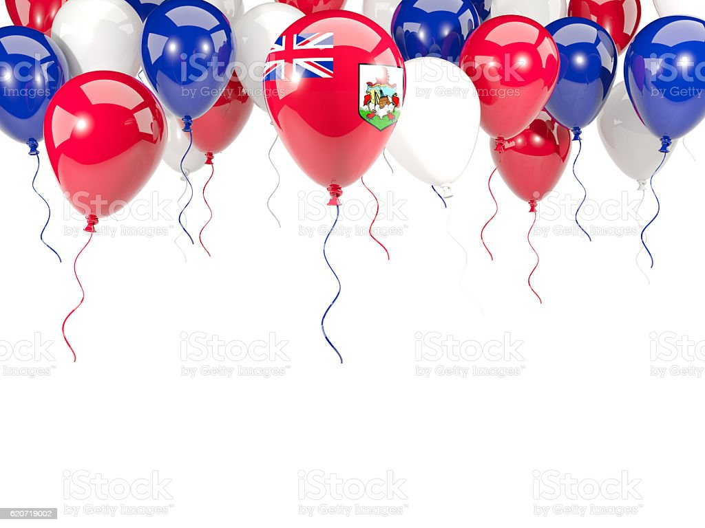 Flag of bermuda on balloons stock photo