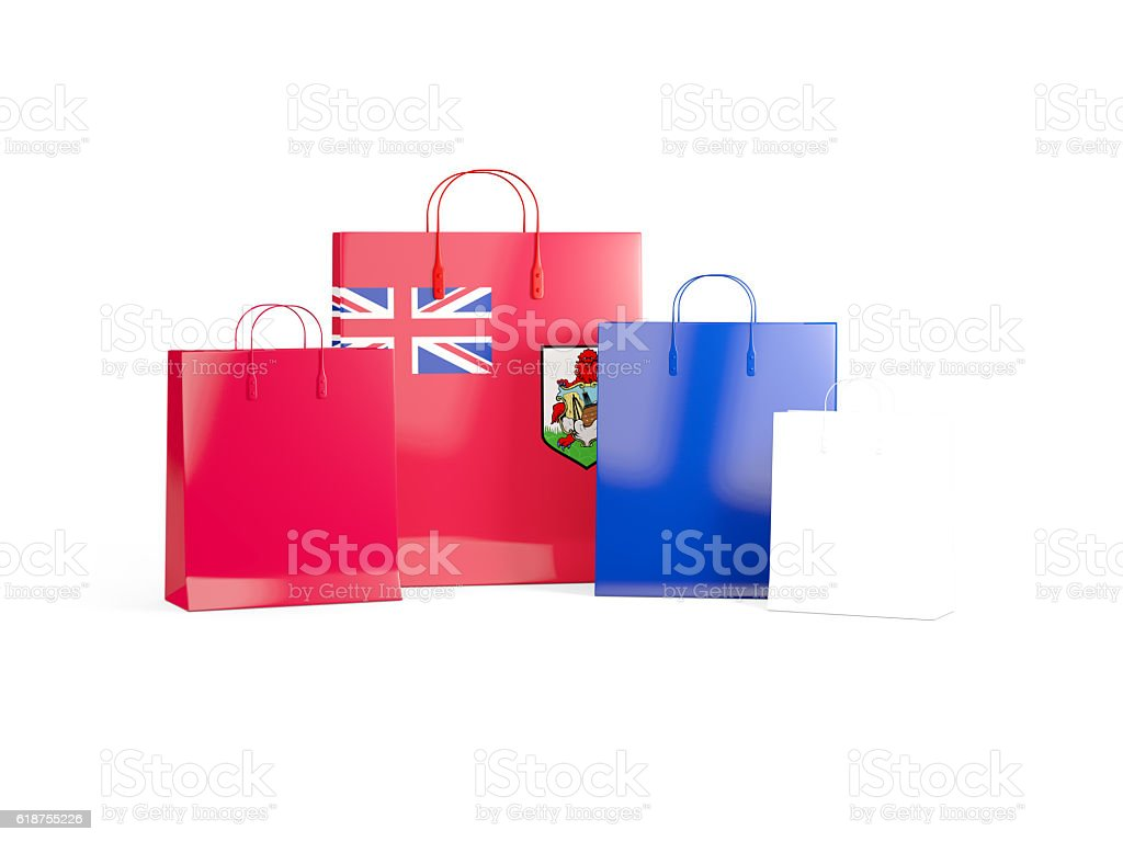 Flag of bermuda on shopping bags stock photo