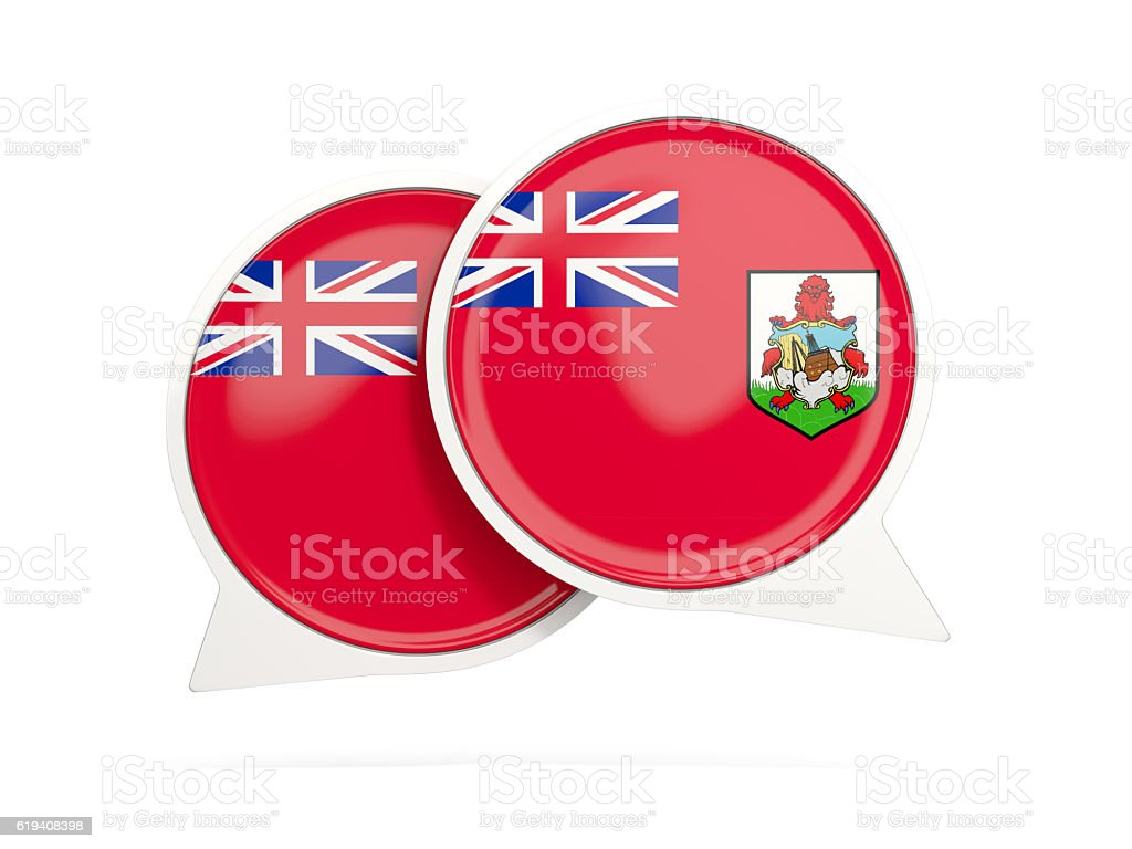 Flag of bermuda, round chat icon stock photo