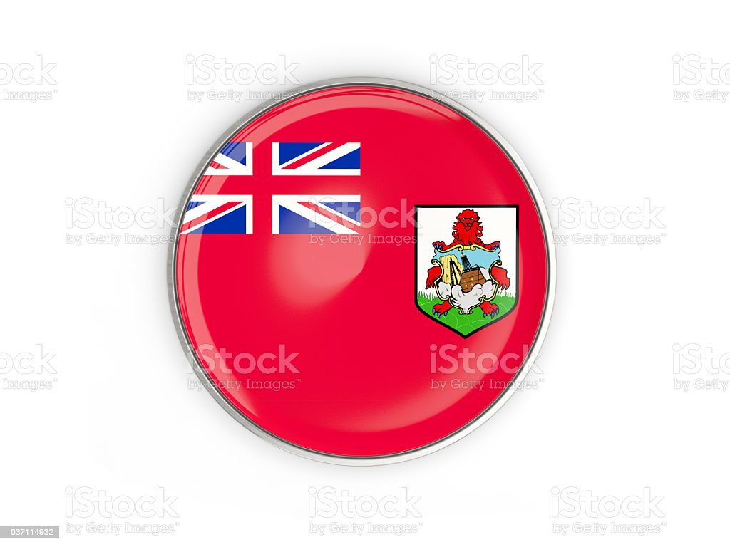 Flag of bermuda, round icon with metal frame stock photo