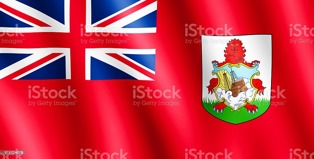 Flag of Bermuda waving in the wind stock photo