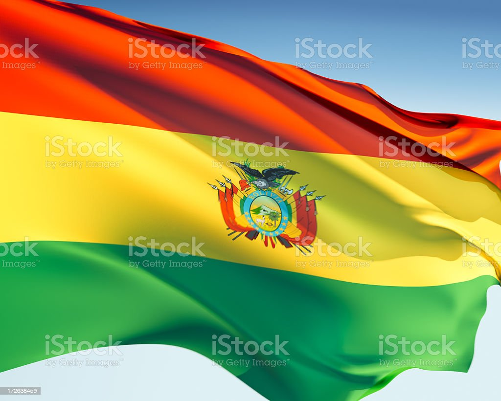 Flag of Bolivia blowing in the wind stock photo