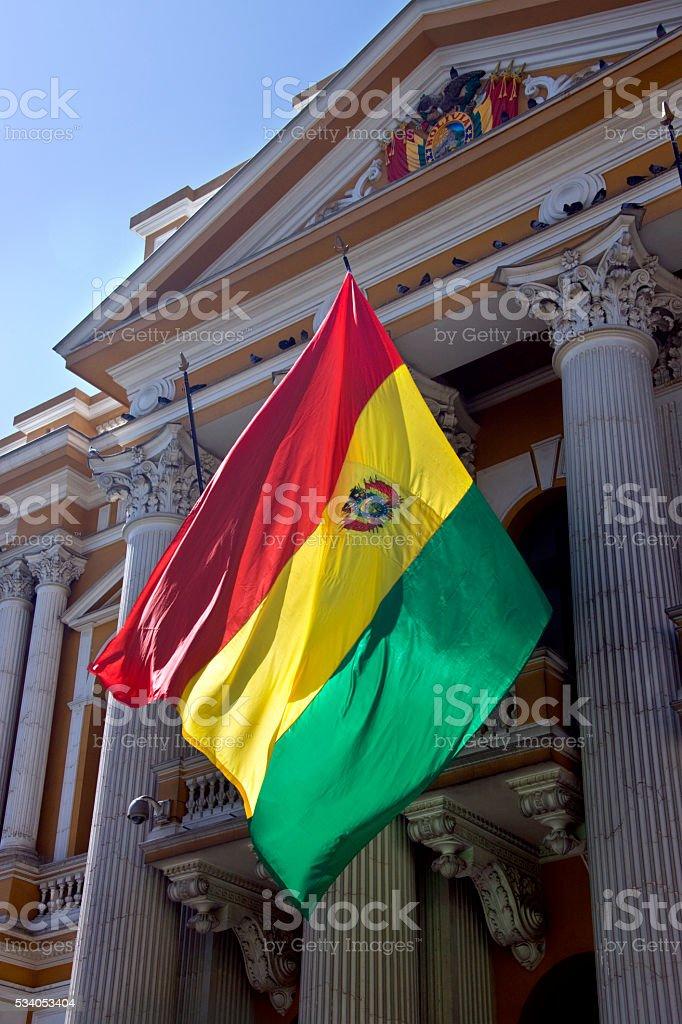 Flag of Bolivia - La Paz - Bolivia stock photo