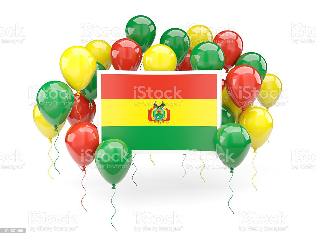 Flag of bolivia with balloons stock photo