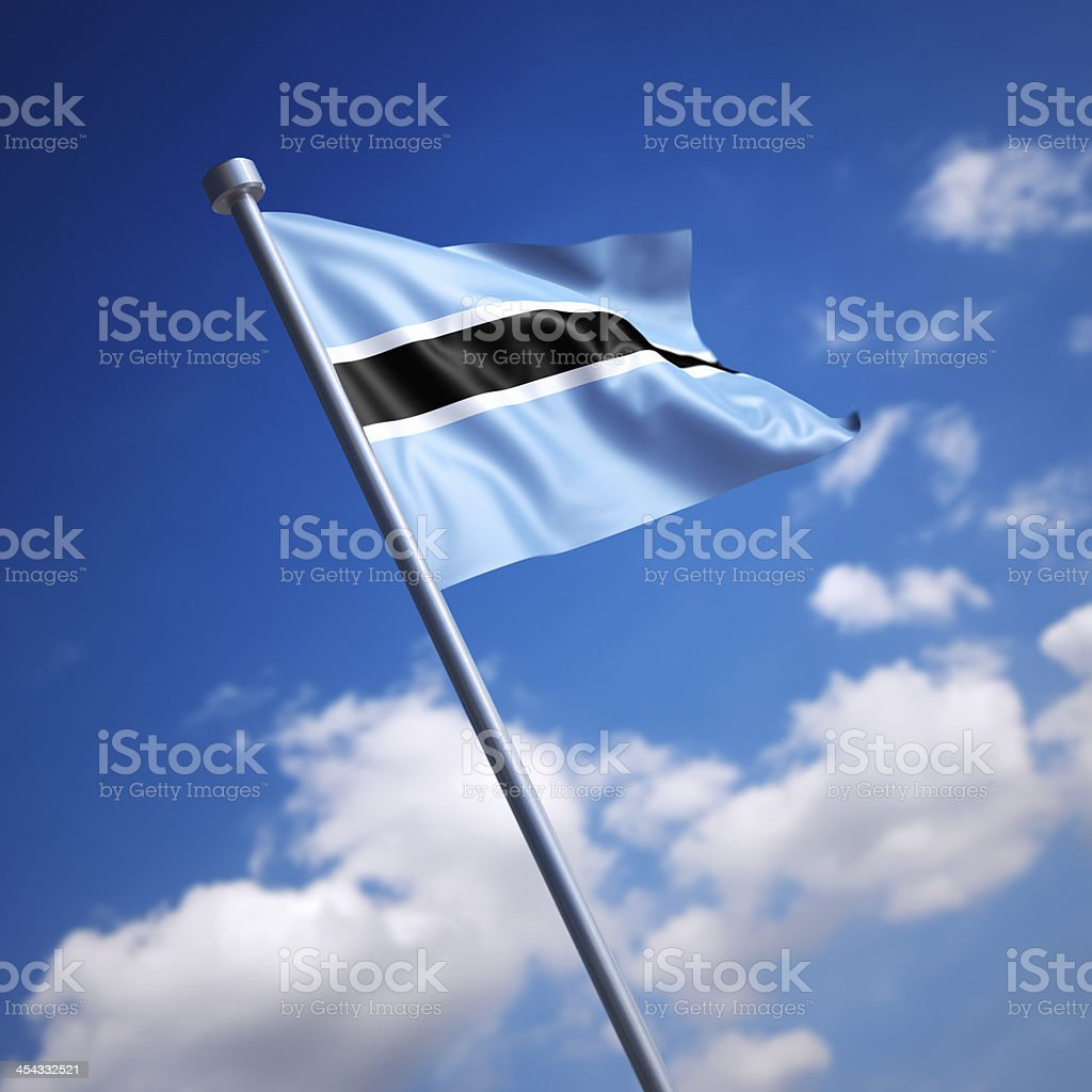 Flag of Botswana against blue sky stock photo