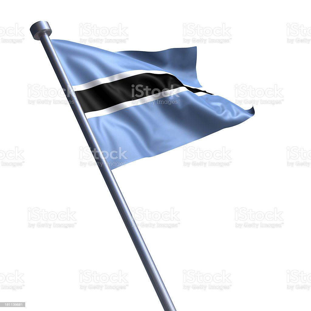 Flag of Botswana isolated on white stock photo