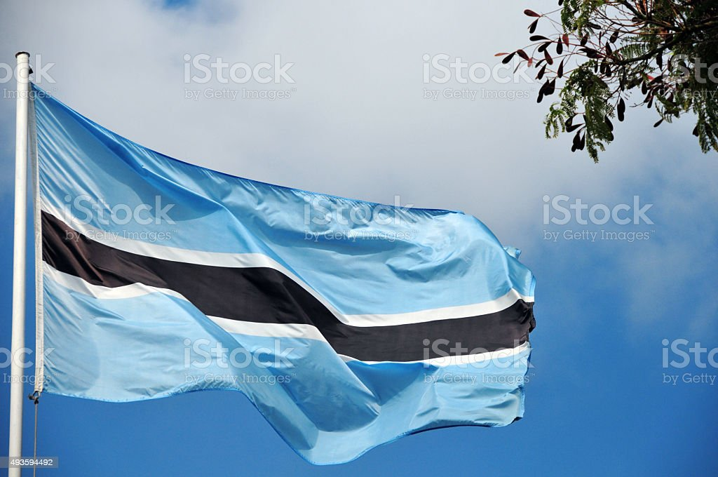 Flag of Botswana (real photo, not computer graphic) stock photo