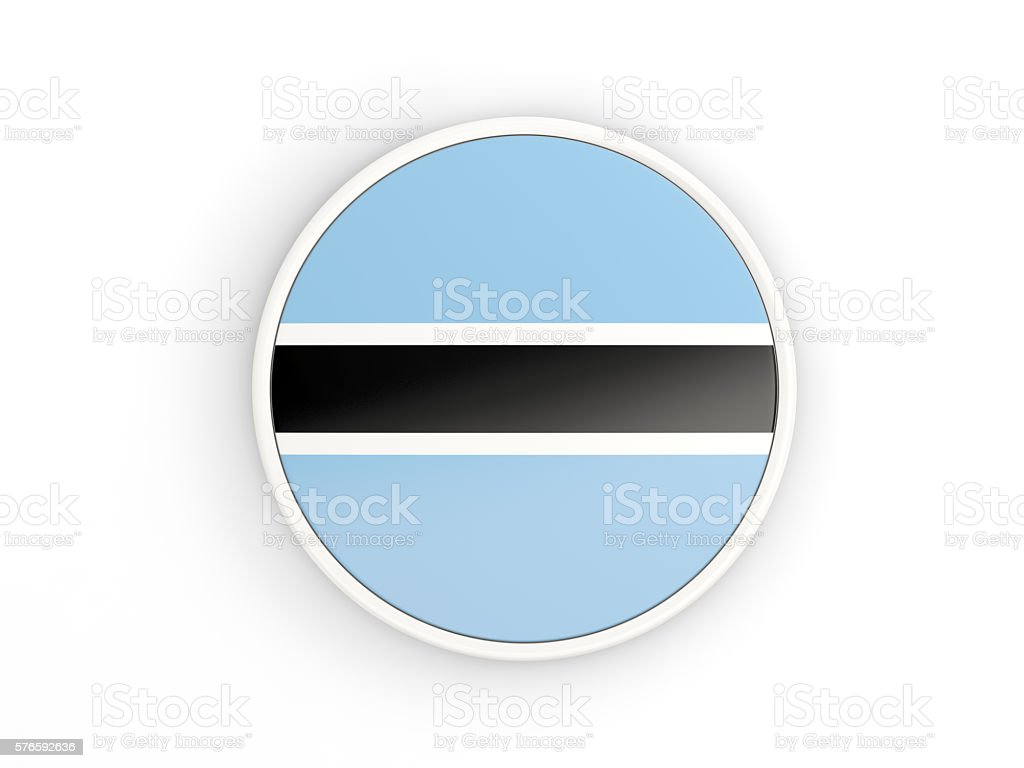 Flag of botswana. Round icon with frame stock photo