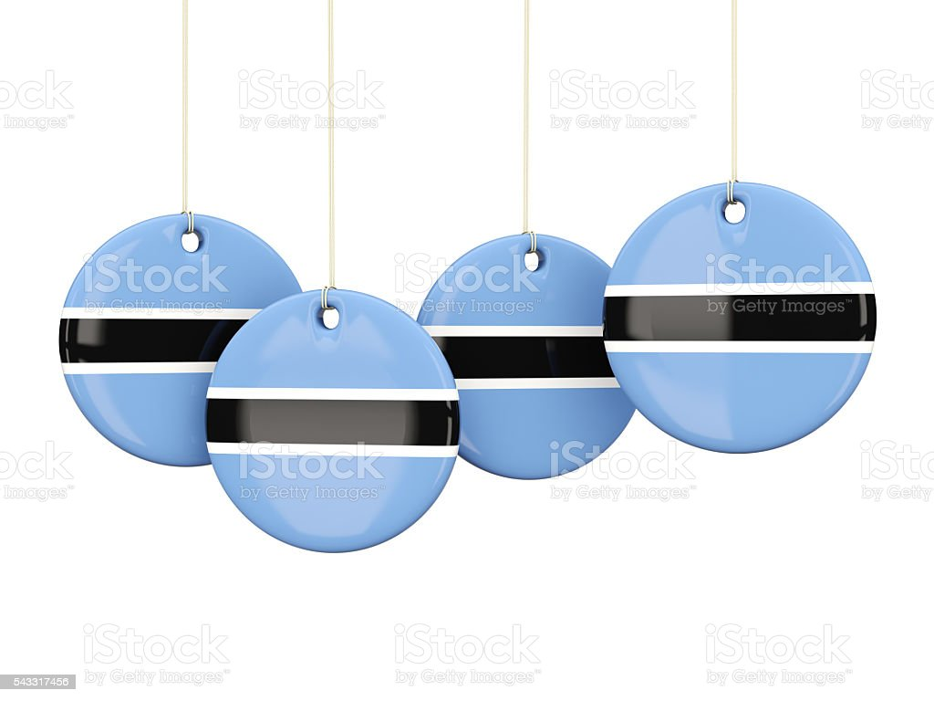 Flag of botswana, round labels stock photo