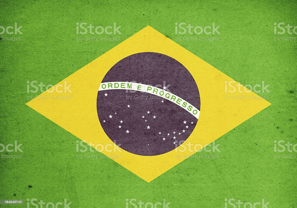 Flag of Brasil Close-Up (High Resolution Image) royalty-free stock photo
