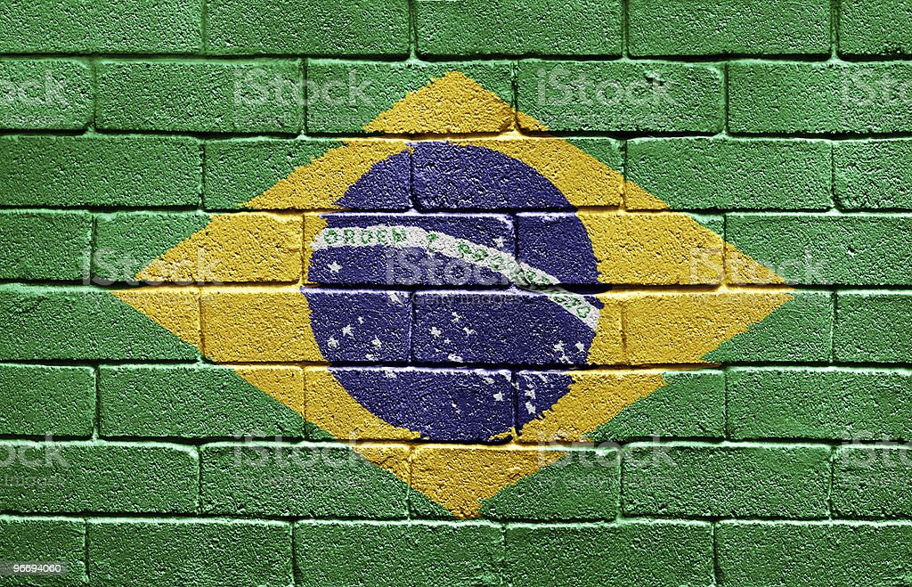 Flag of Brazil painted on brick wall royalty-free stock photo