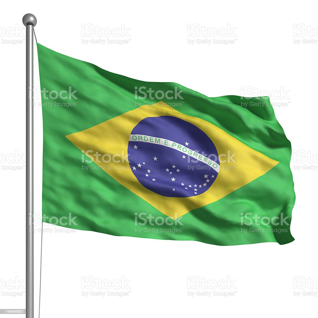 Flag of Brazil (Isolated) stock photo