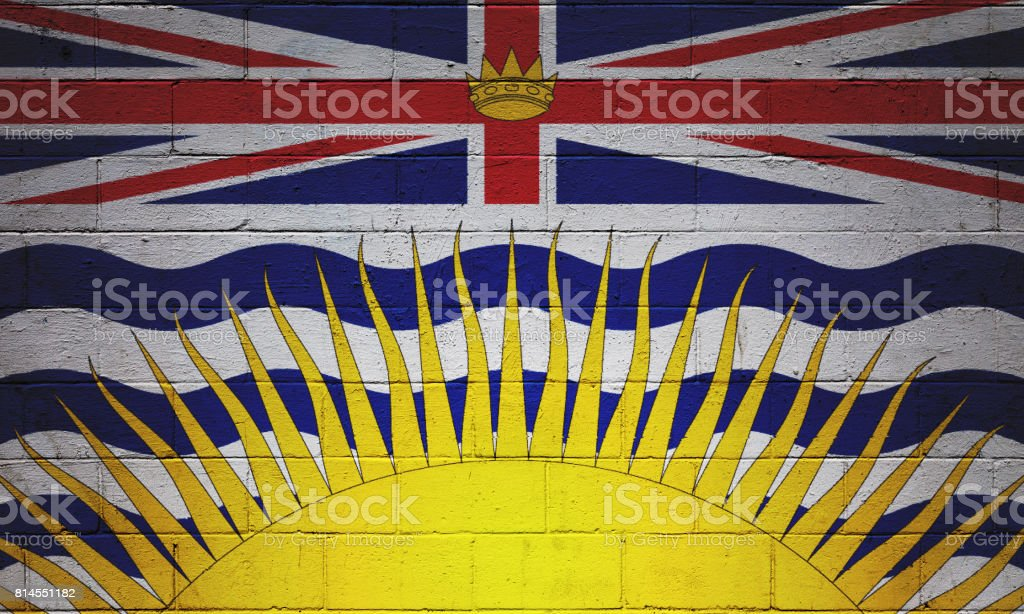 Flag of British Columbia painted on a wall stock photo