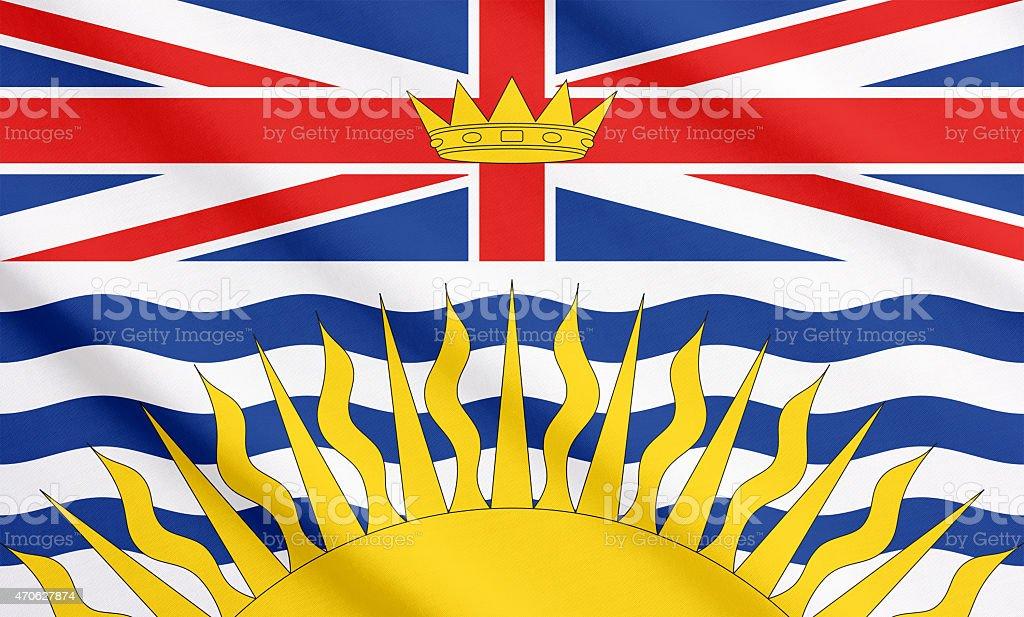 Flag of British Columbia waving stock photo