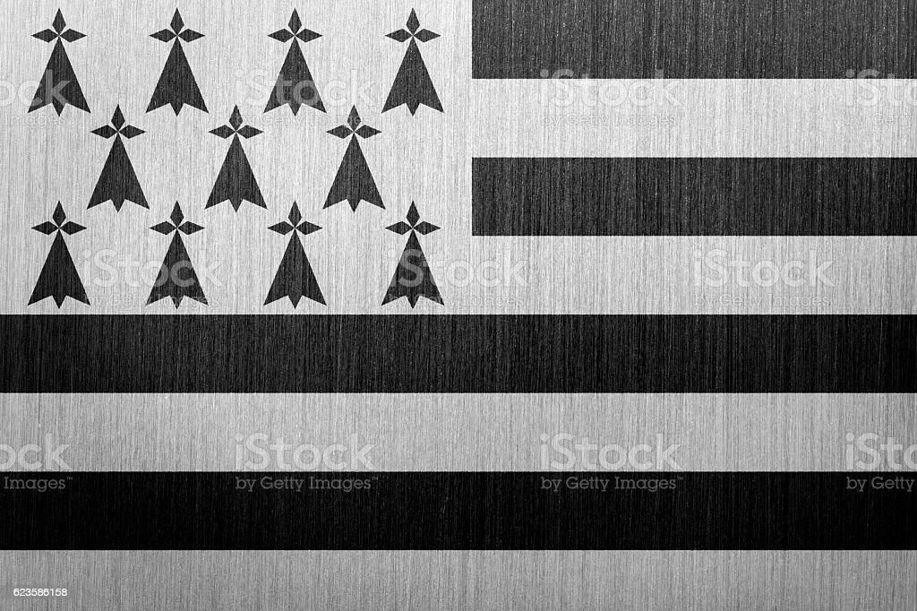 Flag of Brittany, France on a brushed metal background stock photo