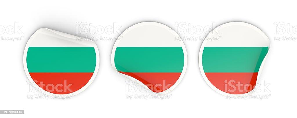 Flag of bulgaria, round labels stock photo