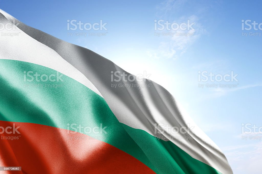 Flag of Bulgaria waving in the wind stock photo