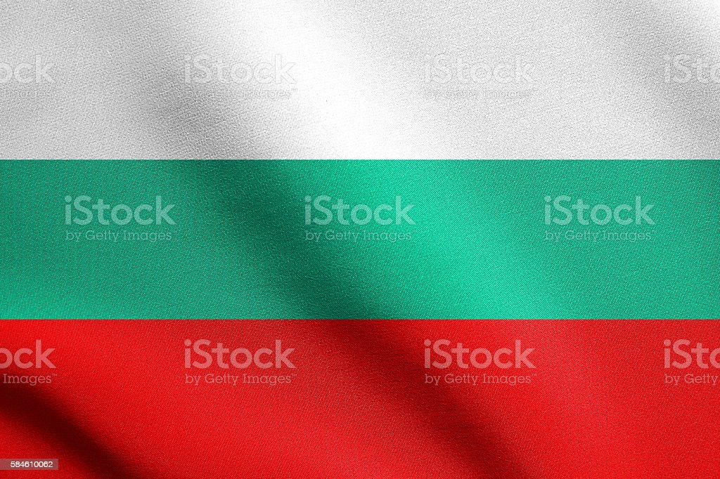 Flag of Bulgaria waving with fabric texture stock photo
