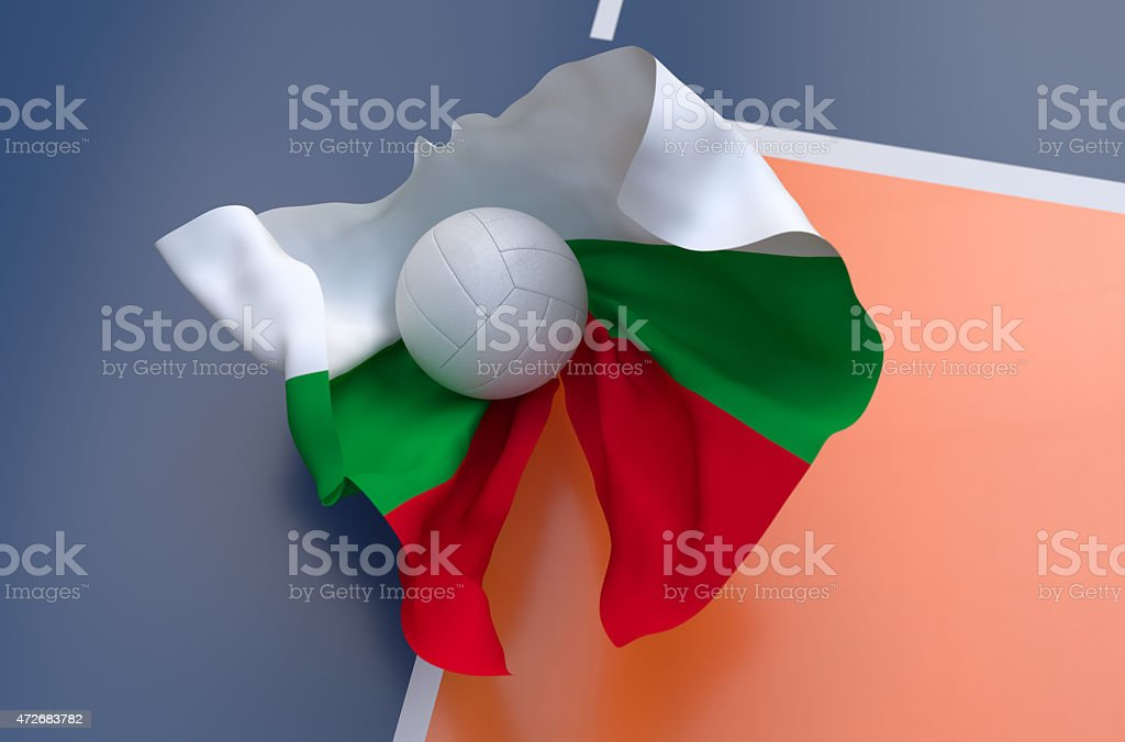 Flag of Bulgaria with championship volleyball ball stock photo