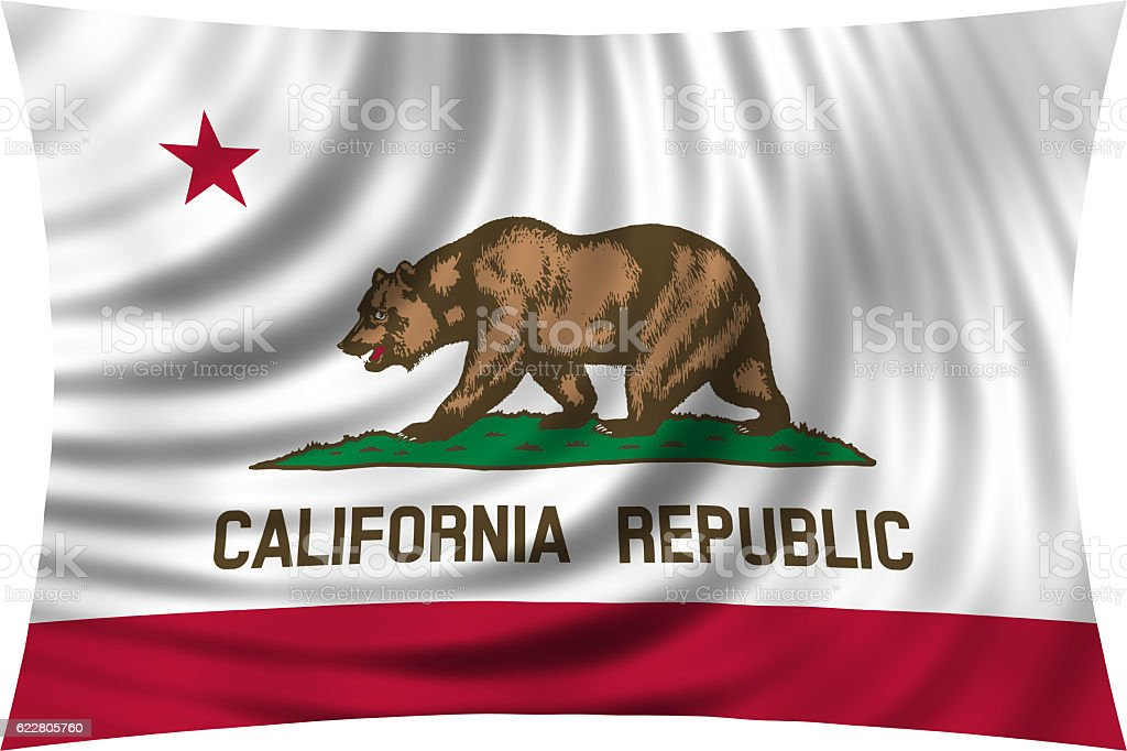 Flag of California waving isolated on white stock photo