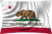 Flag of California waving isolated on white