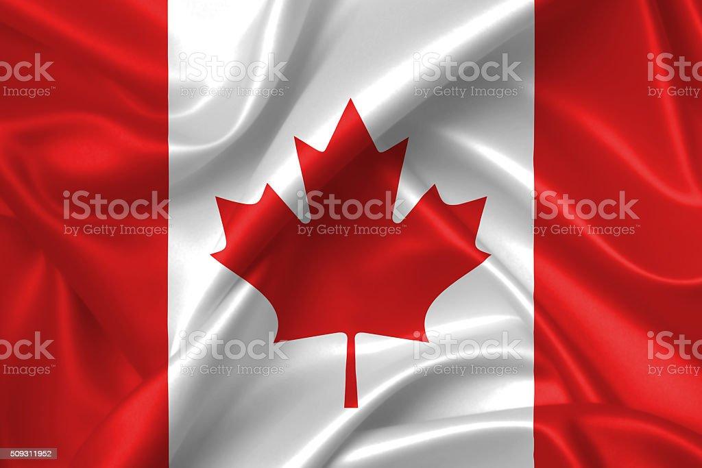 Flag of Canada 3D, silk texture stock photo