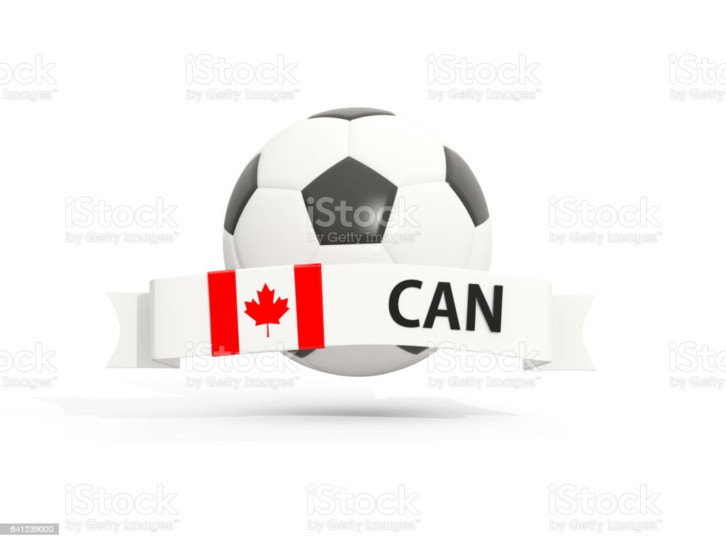 Flag of canada, football with banner and country code stock photo
