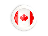 Flag of canada, glossy round button