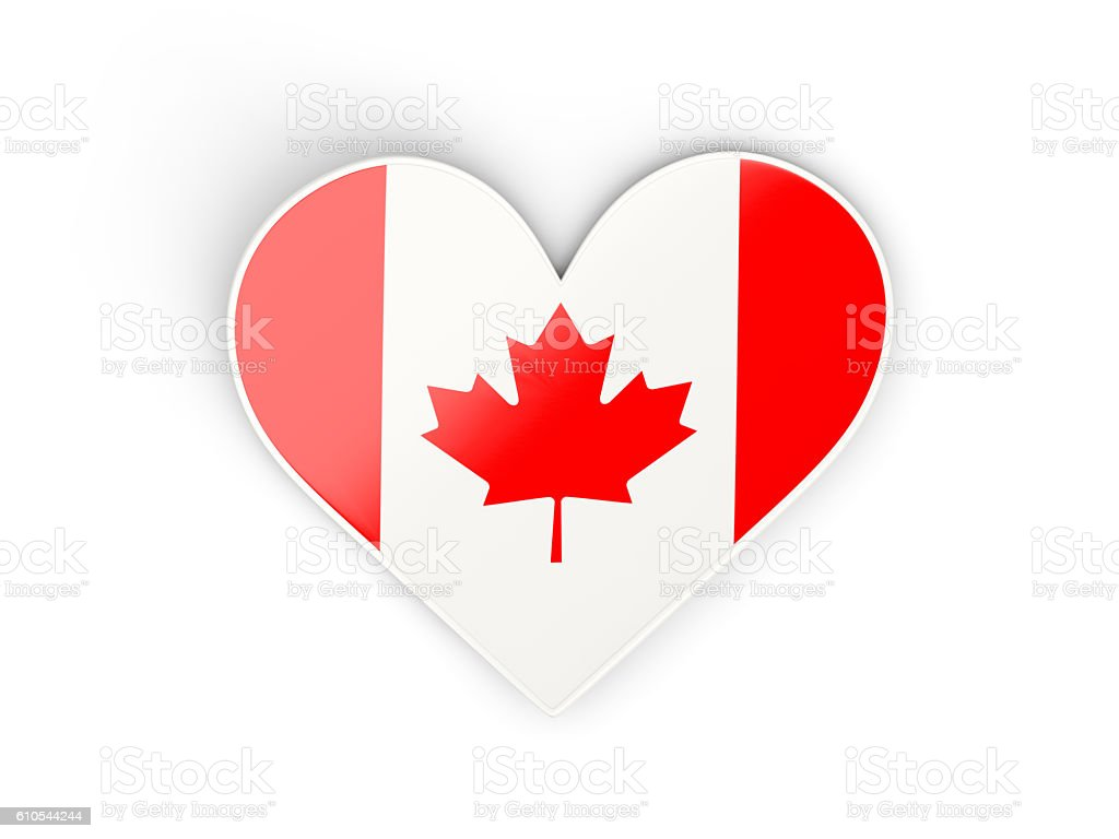 Flag of canada, heart shaped sticker stock photo