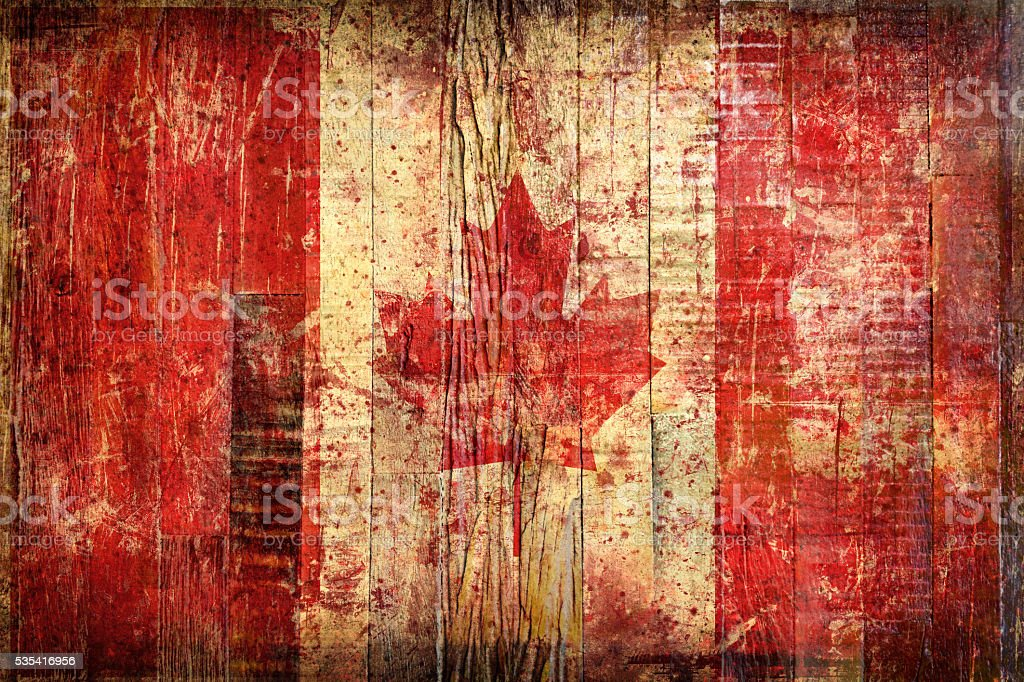 Flag of Canada, painted on a grunge plank stock photo